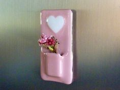Valentine Heart Glass Pocket Magnetic Vase by bprdesigns on Etsy, $12.50