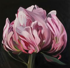 Peony in Profile; oil on canvas, 30cm square Heidi Woodhead