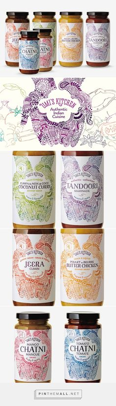 Henna inspired packaging labels via CreativeRoots curated by Packaging Diva PD. Vancouver design studio Brandever together with illustrator Nina Hunter created these traditional henna inspired packaging labels for Umi's Indian kitchen.