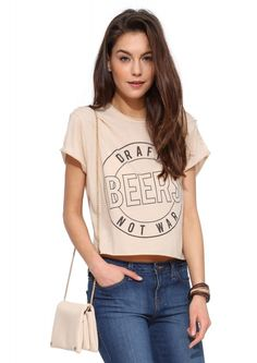Laundry Room Draft Beers Tee Shirt in Nude | Necessary Clothing