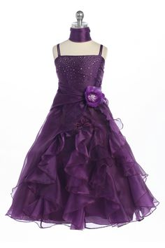 Fuchsia Jeweled Bodice Ruffle Layered Organza Flower Girl Dress