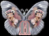 Alfabeto animado de Betty Boop en alas de mariposa.