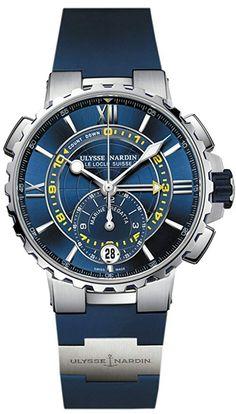 Ulysse Nardin Marine Regatta Stainless Steel   Blue   Rubber 1553-155-3  b4690d9810