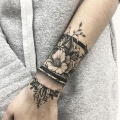 pinterest: SCO okeefe♡ #black_and_white_tattoo_sleeve Love the style of the flowers. Not a fan of the lines
