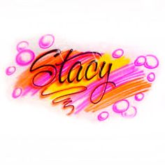 Airbrushed Name over colorful Scribbles and Bubbles design