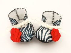 Zebra Print Baby Booties Zebra Fabric Baby Shoes by funkyshapes, $28.95