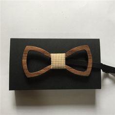 European Real Natural Handmade Wooden Bowtie Fashion Accessory Geometric Design