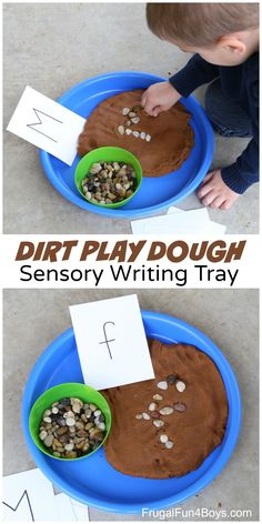 Play Dough + Rocks Writing Tray Dirt Playdough and rock spelling is a great sensory addition to any construction unit for preschoolers!Dirt Playdough and rock spelling is a great sensory addition to any construction unit for preschoolers! Toddler Learning, Toddler Activities, Preschool Alphabet Activities, Playdough Activities, Toddler Play, Writing Center Preschool, Writing Activities For Preschoolers, Preschool Camping Activities, Seeds Preschool