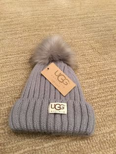 03164509fca91b NWT Ugg Australia Winter Beanie Hat Light Bluish/Grey Fur Inside! #fashion # clothing #shoes #accessories #womensaccessories #hats (ebay link)