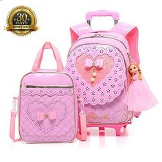 81c3d49449 Super Cute Pink Bow School Bag with Wheels HIGOGOGO Rolling Backpack