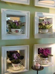 40 Ideas of How To Reuse Tea Cup Artistically. These niches with African violets and mirrors behind them are lovely!Plant in tea cup inside a deep frame - my style. 40 Ideas of How To Reuse Tea Cup Artistically Ideas of How