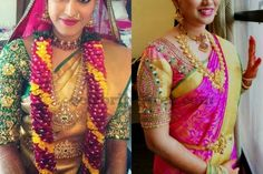 Brides in Quarter Sleeves Silk Blouses | Saree Blouse Patterns