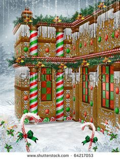 Fantasy gingerbread house with Christmas garlands and mistletoe by Unholy Vault Designs, via ShutterStock