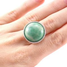 Statement Ring, Green, Silver Rings, Green Ring, Jade, Gemstone Ring, Round, Cocktail Ring, Adjustable, Mint, Rings for Women by Pilboxx on Etsy