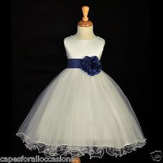 NEW IVORY NAVY BLUE FLOWER GIRL DRESS FORMAL HOLIDAY PARTY 24 MONTHS 2 4 6 8 10