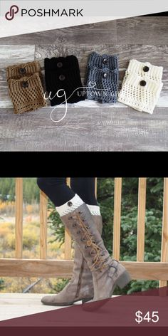Set of 4 Boot Cuffs, Boot Cuffs, Knit Boot Cuffs Set of 4 small to medium fit only women's knit boot cuffs. Up to a 14 inch calf fit. Little button on each boot cuff. Uptown Girl Co Accessories