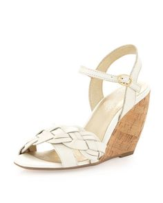 Kill Em With Kindness Cork Wedge Sandal, White by Seychelles at Last Call by Neiman Marcus. - 6 - 70
