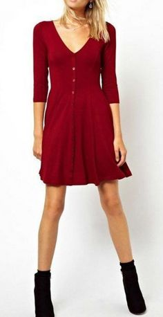 Red Basic Dress With V Neck