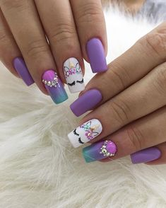 Do you search the new trending concepts, nail colors, nail spring design for your hand? Girls Nail Designs, Popular Nail Designs, Cute Nail Designs, Heart Nail Designs, Colorful Nail Designs, Unicorn Nails Designs, Unicorn Nail Art, Nails For Kids, Girls Nails