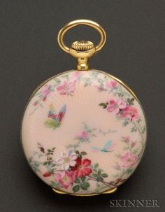 Lady's 18kt Gold and Enamel Open Face Pendant Watch, Patek Philippe   Sale Number 2370, Lot Number 472   Skinner Auctioneers