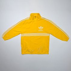 Rare Vintage 80s 90s ADIDAS Yellow Jumper Pullover / ADIDAS Streetwear / ADIDAS Pull Over / Adidas Half Zipper Sweatshirt / Stripe Trefoil