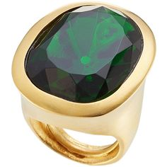 Kenneth Jay Lane Embellished Cocktail Ring ($60) ❤ liked on Polyvore featuring jewelry, rings, green, green cocktail ring, green emerald ring, emerald green jewelry, emerald ring and kenneth jay lane