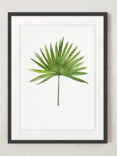 Date Palm Leaf Watercolor, Green Botanical Painting, Dactyl Tree Art Print Exotic Home Decor, Leaves Illustration Tropical Home Garden