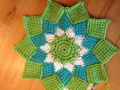 Tunisian Crochet - Entrelac potholder around - YouTube