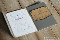 This DIY rustic chic wedding invitation set is free to download from A Handcrafted Wedding. The blog also offers instructions on how to put it all together. #weddinginvitationset #DIY