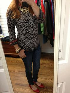 A Leopard And His Plaid: J Crew Factory Charley leopard sweater over tartan plaid, pearls, red shoes
