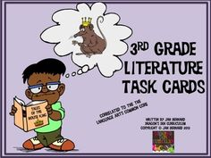 Review and grow your students' understanding of literature standards with this appealing set of 36 literature task cards. This resource addresses 7 out of 9 ELA-3rd grade RL standards. Engaging pictures on each task card in this set encourage learners to engage in the task at hand. Perfect for centers and partner work. Standards covered: RL.3.1 RL.3.2 RL.3.3 RL.3.4 RL.3.5 RL.3.7 RL.3.10  $