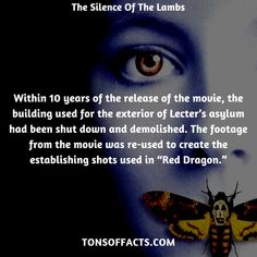 """Within 10 years of the release of the movie, the building used for the exterior of Lecter's asylum had been shut down and demolished. The footage from the movie was re-used to create the establishing shots used in """"Red Dragon. Movie Facts, Fun Facts, Ready Player One, Superhero Movies, Red Dragon, The Godfather, Asylum, Action Movies, Interesting Facts"""