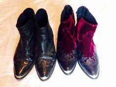 Topshop western flame arson boots- black & maroon velvet