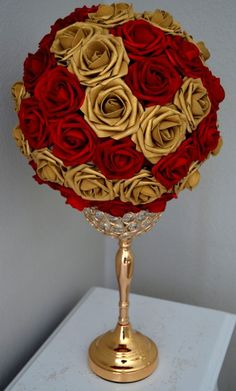 Red and gold centerpieces red gold flower mall mix wedding centerpiece by diy red and gold christmas decorations Gold Wedding Centerpieces, Quinceanera Centerpieces, Quinceanera Party, Candy Centerpieces, Quince Centerpieces, Crown Centerpiece, Flower Ball Centerpiece, Wedding Bouquets, Wedding Flowers