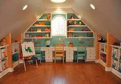 Built-ins for sloped ceilings. Playroom/bonus room ideas