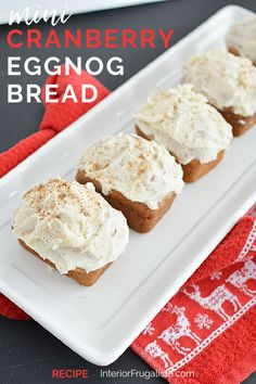 These cute mouth-watering mini cranberry eggnog loaves with eggnog nutmeg icing by Interior Frugalista are so easy to make and the perfect edible Christmas gift too! #minieggnogbread #holidaybaking #festivechristmasideas Eggnog Bread Recipe, Bread Recipes, Easy Christmas Candy Recipes, Edible Christmas Gifts, Christmas Goodies, Simple Christmas, Best Dessert Recipes, Fun Desserts, Kiss The Cook