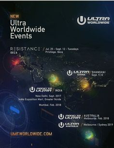 Over the past few years, Ultra Worldwide has ventured to many locations across the globe… We are thrilled to announce that Ultra Worldwide will now be expanding to China, India, Australia and Ibiza! Ultra China — Shanghai — September 9,10 2017 Road to Ultra: India — New Delhi — September 2017 Road to Ultra: India — Mumbai — February 2018 Road to Ultra: Australia — Melbourne — February 2018 Ultra Australia — Sydney & Melbourne — 2019 RESISTANCE Ibiza Residency — Tuesdays at PRIVILEGE IBIZA —…