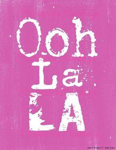 Ooh La La French sign digital PDF  - Pink uprint art words vintage style primitive paper old 8 x 10 frame saying. $5.99, via Etsy.