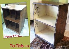 DIY ~ Dremel-Carving, A How-to Tutorial. Transform a dull piece of wood furniture into a beautiful custom work of art.  I'm not sure I have the artistic skills to draw the designs free-hand, but I have friends who can and there are always stencils... I am imagining the possibilities :)