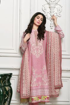 GULAHMED 2016  Tea Pink embroidered chiffon. Sophisticated