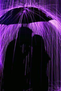 A Kiss underneath the Umbrella in the Purple Rain Purple Haze, The Purple, Purple Walls, Purple Stuff, All Things Purple, Shades Of Purple, Neon Purple, Purple Roses, Purple Reign