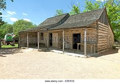 A log cabin, built in 1869, is preserved at Sauer-Beckman Living History Farm, LBJ State Park and Historic Site, Stonewall, TX - Stock Image