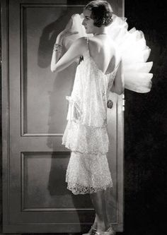 1928 silver-beaded confection designed by Coco Chanel