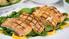 Grilled Salmon with White Bean and Spinach Salad