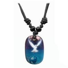 Piercings Sieraden online shop snel uw piercing bestellen. Vredesduif Ketting heel apart kleur blauw met witte duif