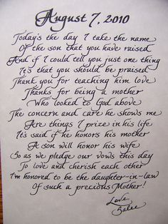 The Personal Touch: Mother In Law Poem - from the Bride  Great Gift Idea