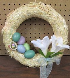 diy easter wreath & spray painted glass jar decoration