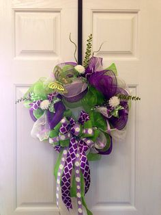 Easter purple and green deco mesh spring wreath on Etsy, $38.00