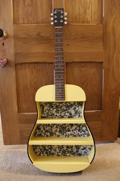 Handmade Upcycled Guitar Shelf in yellow. Available on Etsy https://www.etsy.com/uk/listing/269482713/bespoke-guitar-shelves-unique-made-to?ref=shop_home_active_2