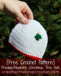 Cream Of The Crop Crochet ~ Preemie/Newborn Christmas Tree Hats {Free Crochet Pattern}